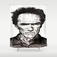 clint eastwood Shower Curtains featuring Clint Eastwood by Danielle Ross