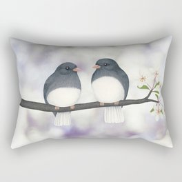 dark eyed juncos (bokeh and blossoms) Rectangular Pillow