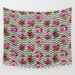 Neon pink green white black geometrical chevron floral Wall Tapestry
