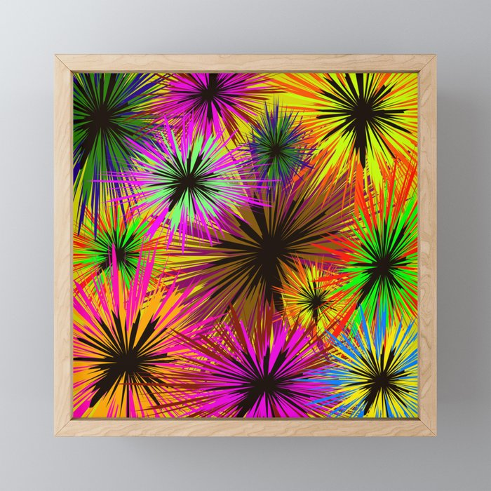 Shaggy flowers. Background of different colors shaggy, asters, dahlias Framed Mini Art Print