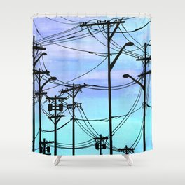 Industrial poles blue Shower Curtain
