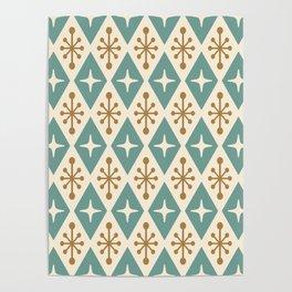 Mid Century Modern Atomic Triangle Pattern 102 Poster