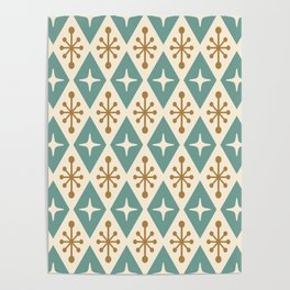 Mid Century Modern Atomic Triangle Pattern 102 Poster
