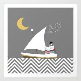 Nautical Sailor Cats Art Print