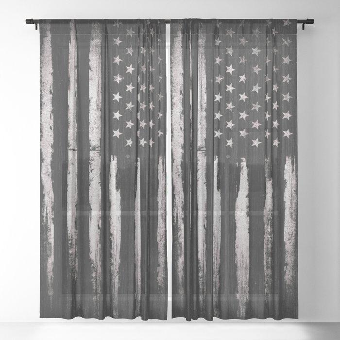 White Grunge American flag Sheer Curtain