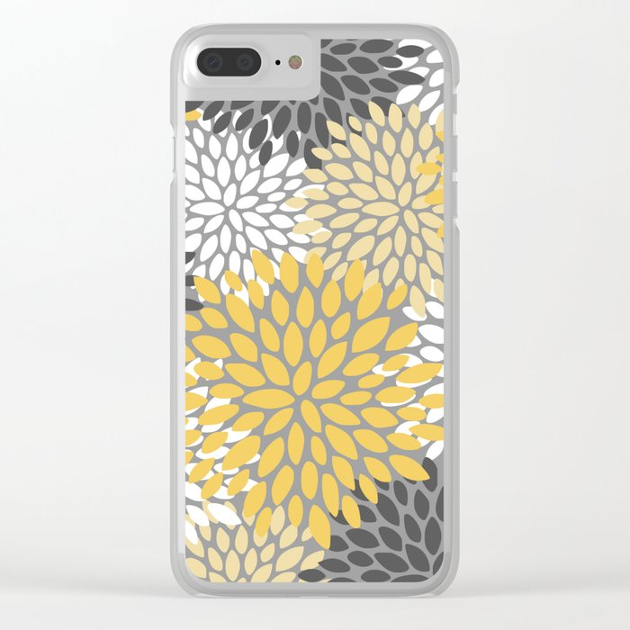Modern Elegant Chic Floral Pattern, Soft Yellow, Gray, White Clear iPhone Case