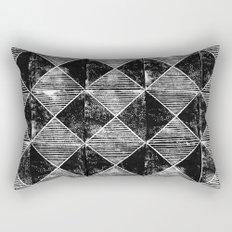 Chequers I Black Rectangular Pillow