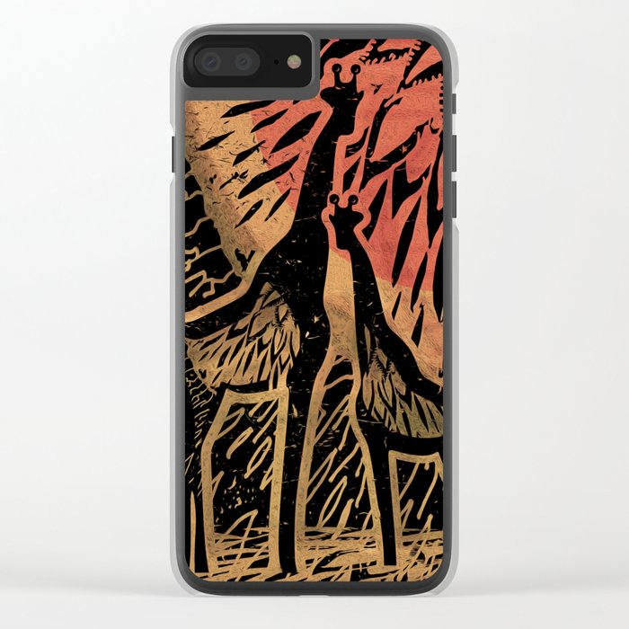 Giraffe Color Sunset Clear iPhone Case