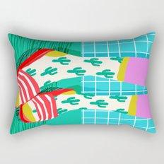Sliders - memphis throwback retro neon 1980s 80s style pop art shoe fashion grid pattern socks Rectangular Pillow