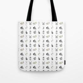 Vintage Bunny Rabbit Pattern Tote Bag