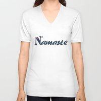 namaste V-neck T-shirts featuring Namaste by Stay Inspired