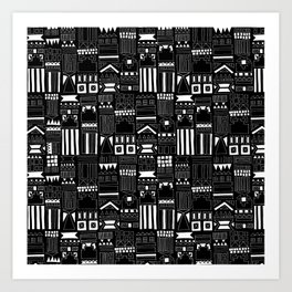 Black and White Stripes and Shapes Pattern Art Print