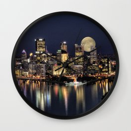 Moon Rise Over Pittsburgh Wall Clock