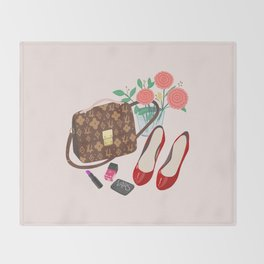 Classic Friday Night, bag, shoes, flower, make up, lipstick art print, girly illustration Throw Blanket