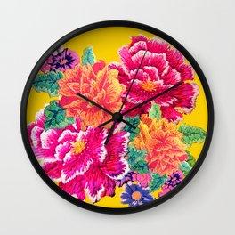 Oriental Peony Print Wall Clock