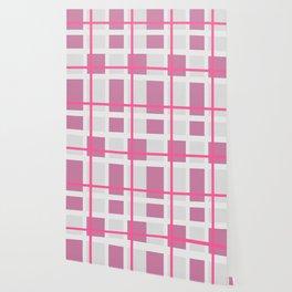 Retro Pink Plaid Pattern Wallpaper