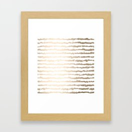 White Gold Sands Ink Stripes Framed Art Print