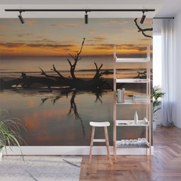 Driftwood on the beach at sunrise Wall Mural