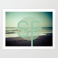 OCEAN BEACH Art Print