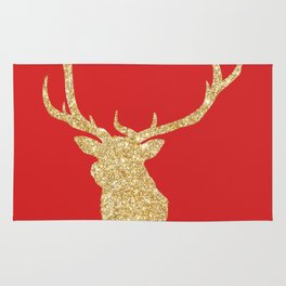 Golden Deer Head Red Background Rug