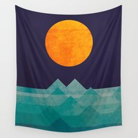 landscape Wall Tapestries featuring The ocean, the sea, the wave - night scene by Picomodi