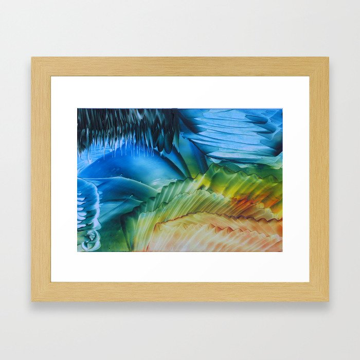 Green-blue caves Framed Art Print