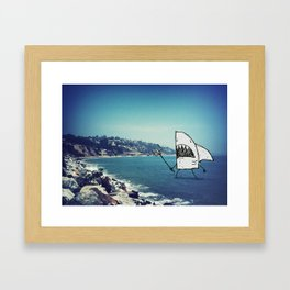 Monster Shark Doodle Framed Art Print