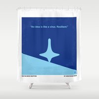 inception Shower Curtains featuring No240 My Inception minimal movie poster by Chungkong