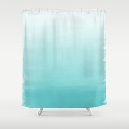 Modern teal watercolor gradient ombre brushstrokes pattern Shower Curtain