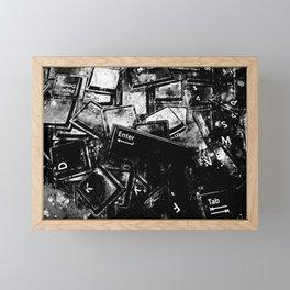 keyboard keys letters wsbw Framed Mini Art Print