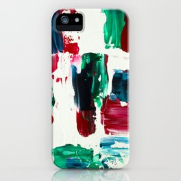 Jingle all the way green blue red white acrylic abstract brushstrokes christmas pattern iPhone Case