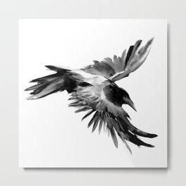 Flying Raven Metal Print