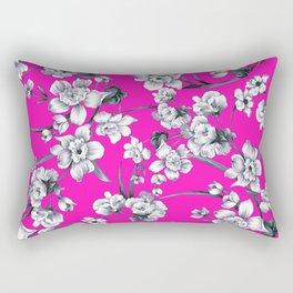 Modern neon pink black white abstract floral Rectangular Pillow