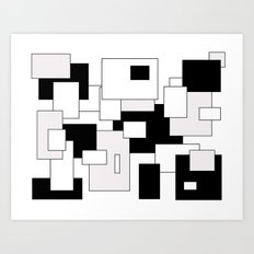 Squares - gray, black and white Art Print