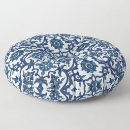 Blue Portuguese Azulejos Floral Tile Pattern Floor Pillow