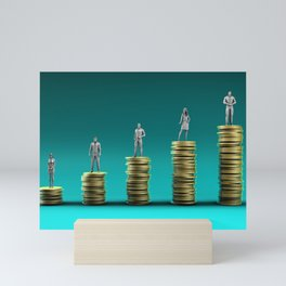 Finance Wealth Increase with Business People Standing on Chart of Gold Coins Mini Art Print