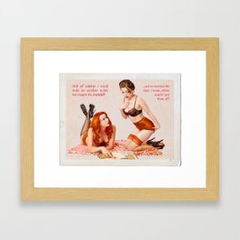 """Girl Talk"" - The Playful Pinup - Black and Pink Lingerie Pinup by Maxwell H. Johnson Framed Art Print"