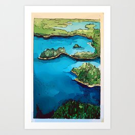Boundary Waters Canoe Area - Aerial Watercolor Art Print