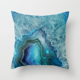 Aqua Turquoise Crystal Mineral Gem Agate Throw Pillow