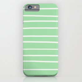 Linen Off White Hand Drawn Line Pattern on Pastel Green Pairs to 2020 Color of the Year Neo Mint iPhone Case
