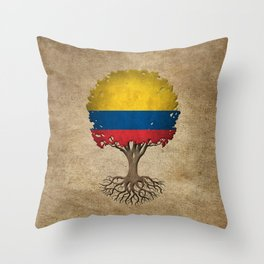 Vintage Tree of Life with Flag of Colombia Throw Pillow