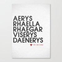 targaryen Canvas Prints featuring House Targaryen Typography series II  by P3RF3KT