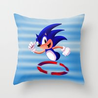 sonic Throw Pillows featuring Sonic by DROIDMONKEY