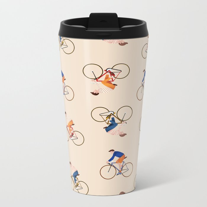 Bike Pattern Metal Travel Mug