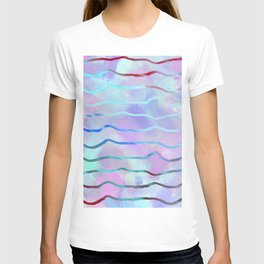 Geometrical pink teal lilac watercolor stripes T-shirt