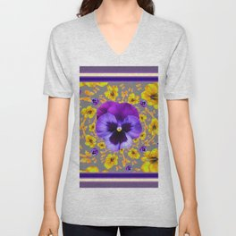PUCE PANSIES YELLOW BUTTERFLIES & FLOWERS Unisex V-Neck