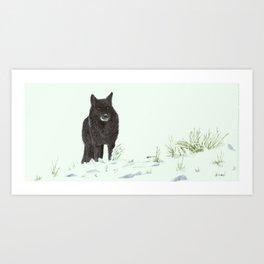 Wolf's snow Art Print
