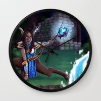 arya Wall Clocks featuring Guardian of The Forest by Sara Poveda