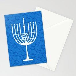 Hanukkah Menorah Silhouette - Cobalt Blue and White Stationery Cards