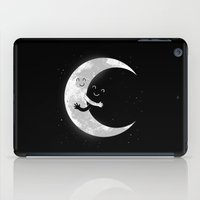 hug iPad Cases featuring Moon Hug by carbine